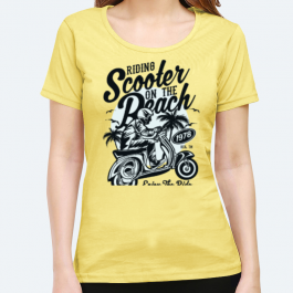 Scooter on a Beach BaeLolly Women's Round Neck Half Sleeve T-Shirt