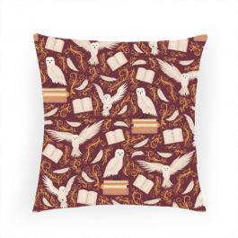 Magical owl pattern - red Square Canvas Throw Pillow Without Insert
